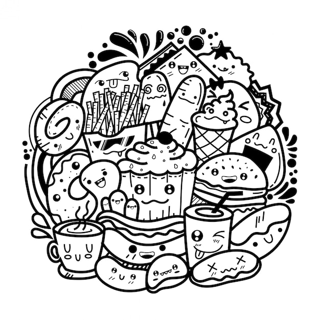 Essen süße monster kritzeleien Premium Vektoren