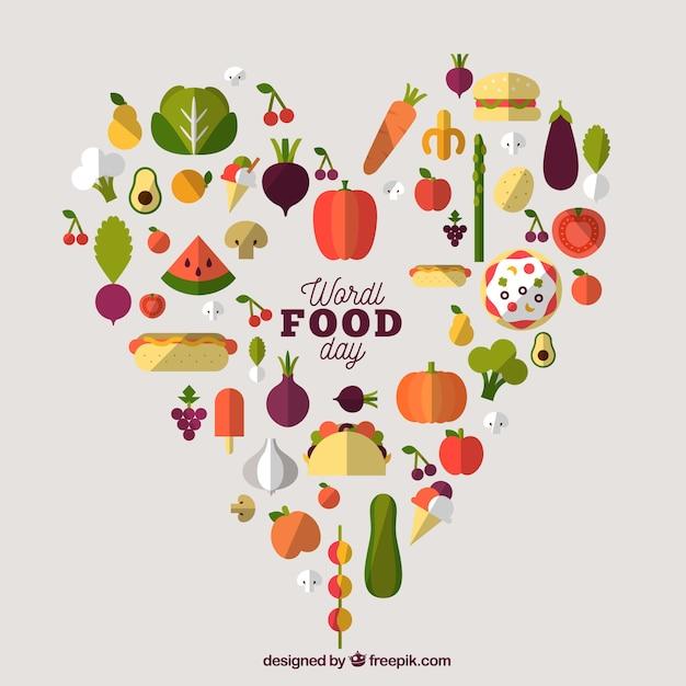 Essen tag hintergrund mit herz-design Kostenlosen Vektoren