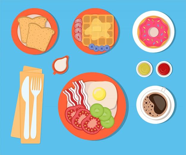 Essen und getränke zum frühstück, eine reihe von isolierten elementen. vektorillustration im flachen stil. Premium Vektoren