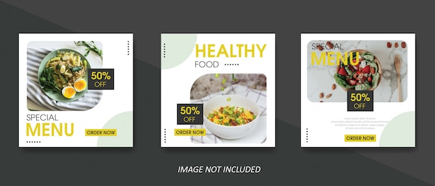 Essen und kulinarische verkauf banner vorlage für social media post Premium Vektoren