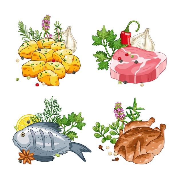 Essen und mahlzeit mit gewürzen gesetzt Premium Vektoren