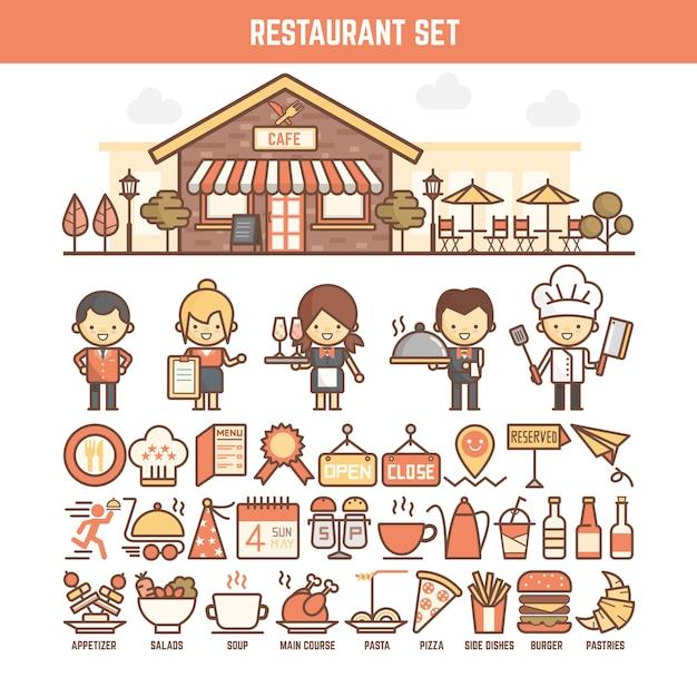 Essen und restaurant elemente für infografiken Premium Vektoren
