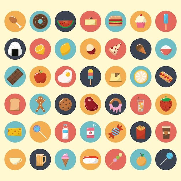 Essen und snacks icon sammlung Kostenlosen Vektoren