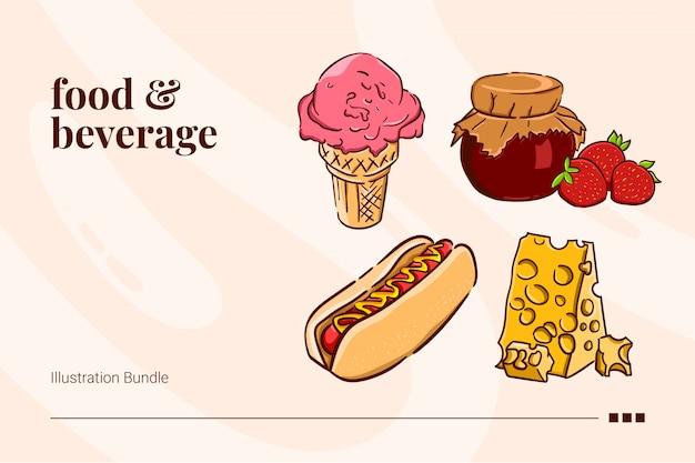 Essen und trinken, eis, marmelade, hotdog und käse Premium Vektoren