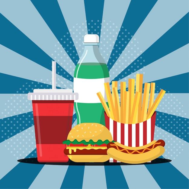 Essen und trinken, hamburger, pommes frites, hotdog und getränkeillustration Premium Vektoren