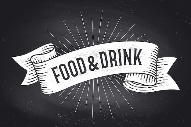 Essen und trinken. old school vintage band banner mit text essen und trinken. schwarzweiss-kreidegrafik auf tafel. plakat für menü, bar, kneipe, restaurant, café, food court. Premium Vektoren