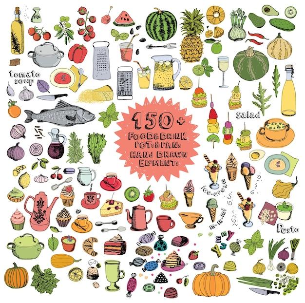 Essen und trinken töpfe und pfannen hand gezeichnete elemente farbsatz Kostenlosen Vektoren