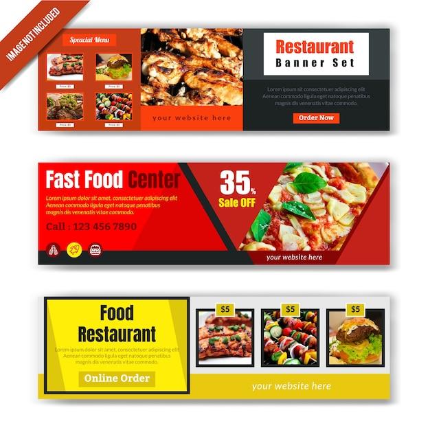 Essen web banner design für restaurant Premium Vektoren