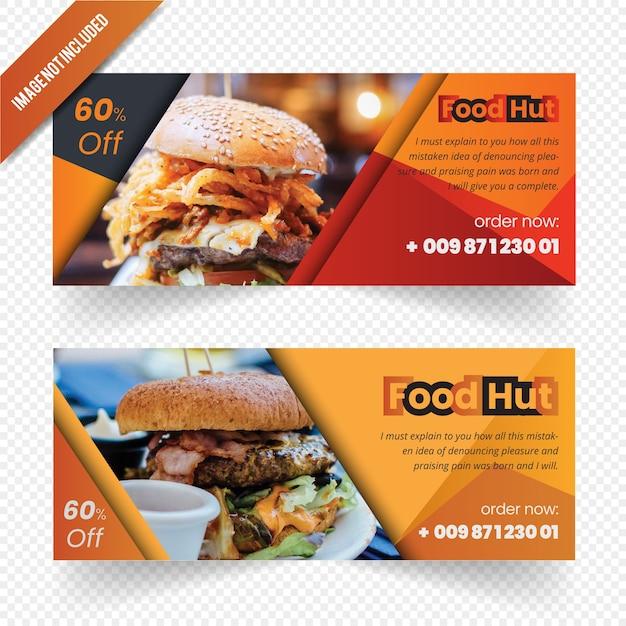 Essen web banner design Premium Vektoren