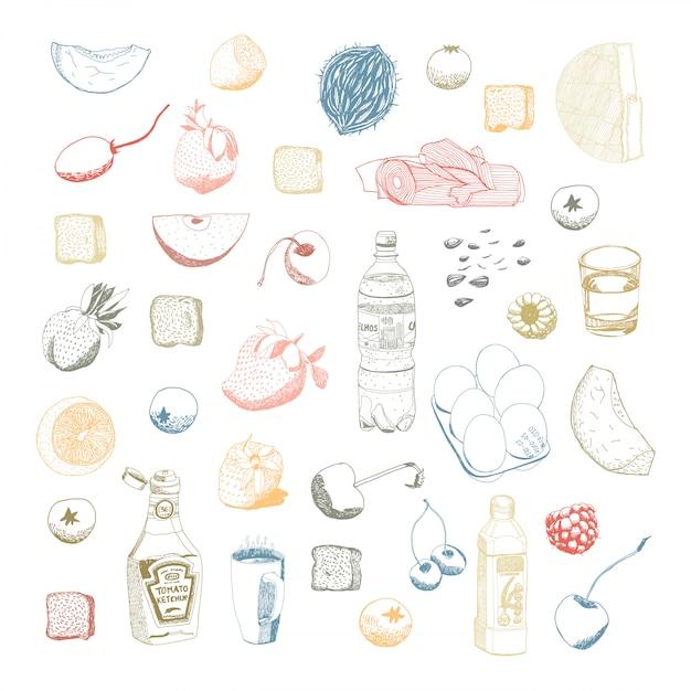 Essens- und küchenmaterial eingestellt Premium Vektoren