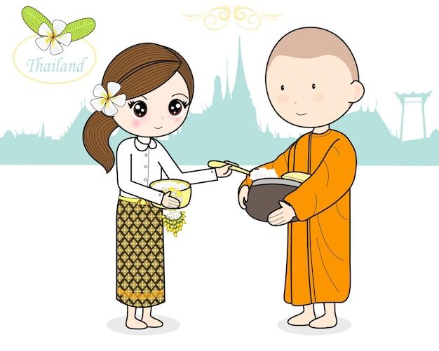 Essensangebot in die almosenschale eines buddhistischen mönchs geben Premium Vektoren