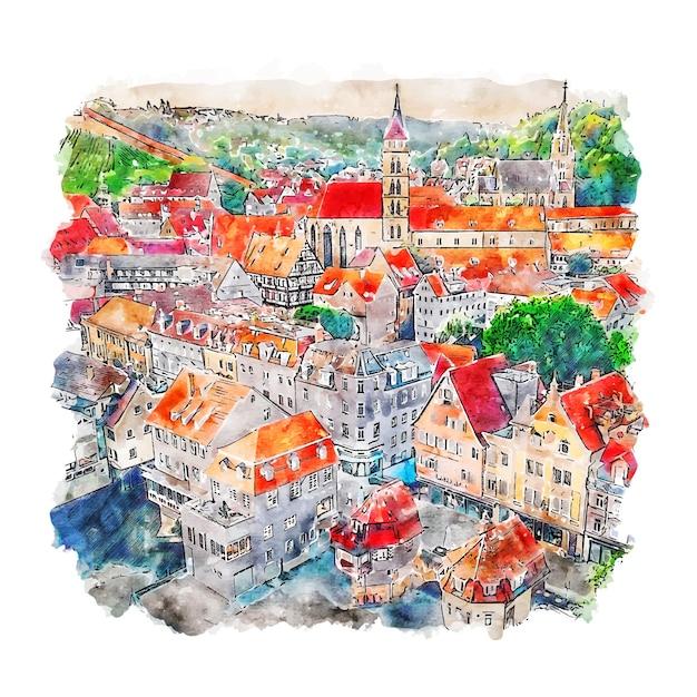 Essling deutschland aquarell skizze hand gezeichnete illustration Premium Vektoren