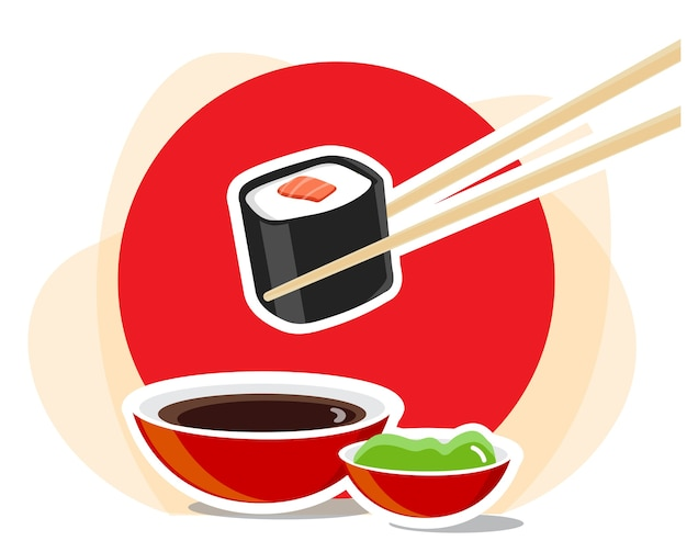 Essstäbchen mit sushi-rolle Premium Vektoren