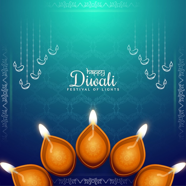 Ethinc kultur happy diwali festival gruß hintergrund Kostenlosen Vektoren