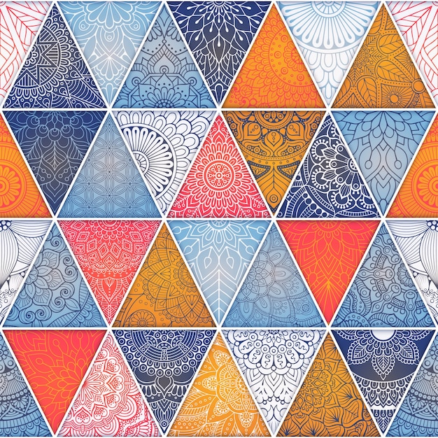 Ethnische floral nahtlose Muster Zusammenfassung ornamentale Muster Kostenlose Vektoren