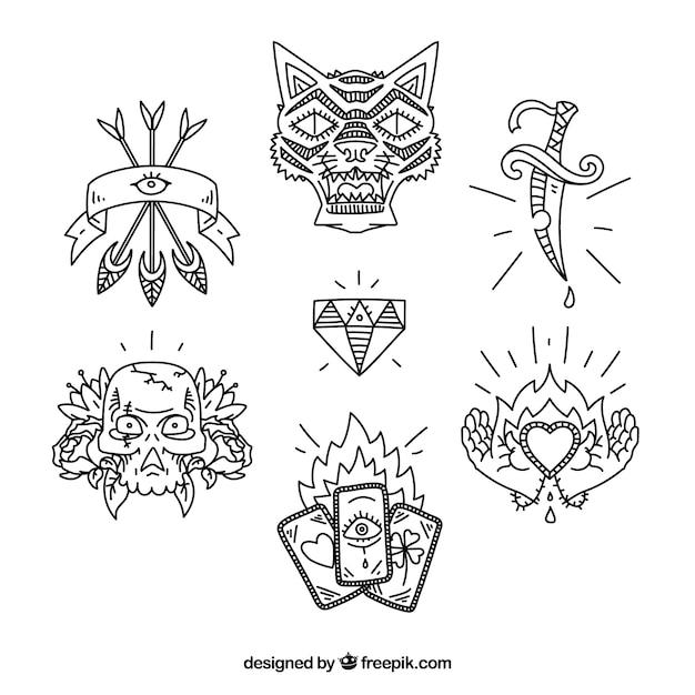 Ethnische hand gezeichnet tattoo pack Kostenlosen Vektoren