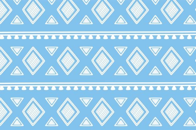 Ethnische handgemachte, blaue formen geometrische stammesverzierungs-tapetenvektorillustration Premium Vektoren