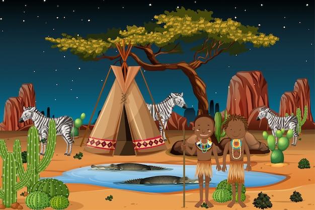 Ethnische leute afrikanischer stämme in traditioneller kleidung im naturhintergrund Kostenlosen Vektoren