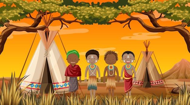 Ethnische menschen afrikanischer stämme in traditioneller kleidung in der natur Premium Vektoren