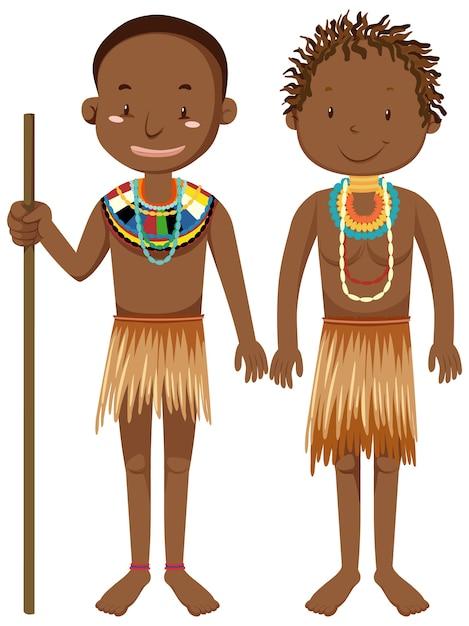 Ethnische menschen afrikanischer stämme in traditioneller kleidung zeichentrickfigur Kostenlosen Vektoren