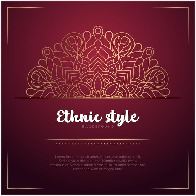 Ethnischer arthintergrund mit mandala- und textschablonen-, roter und goldenerfarbe Kostenlosen Vektoren