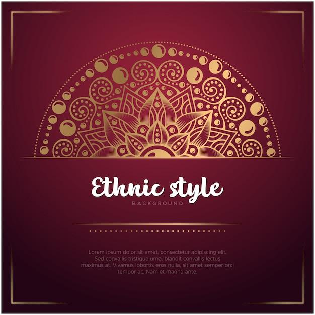 Ethnischer artkartenhintergrund mit mandala- und textschablonen-, roter und goldenerfarbe Kostenlosen Vektoren
