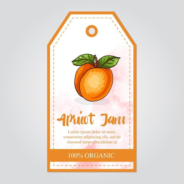 Etikett der aprikosenmarmelade mit aquarell Premium Vektoren