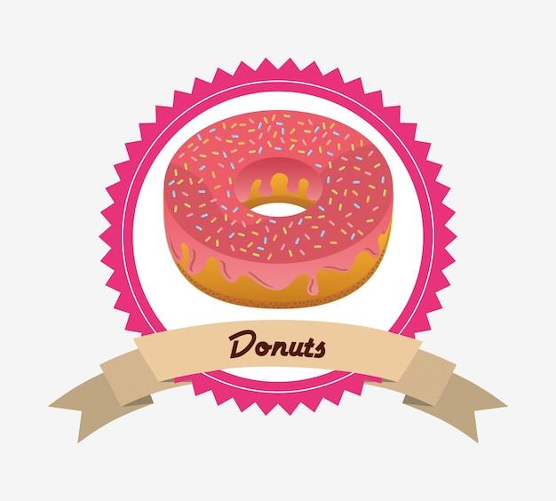 Etikett mit süßen donuts Kostenlosen Vektoren