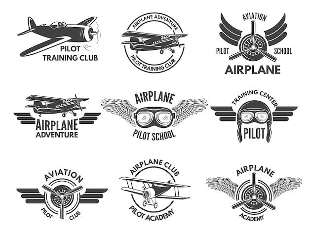 Etiketten-entwurfsvorlage mit bildern von flugzeugen Premium Vektoren
