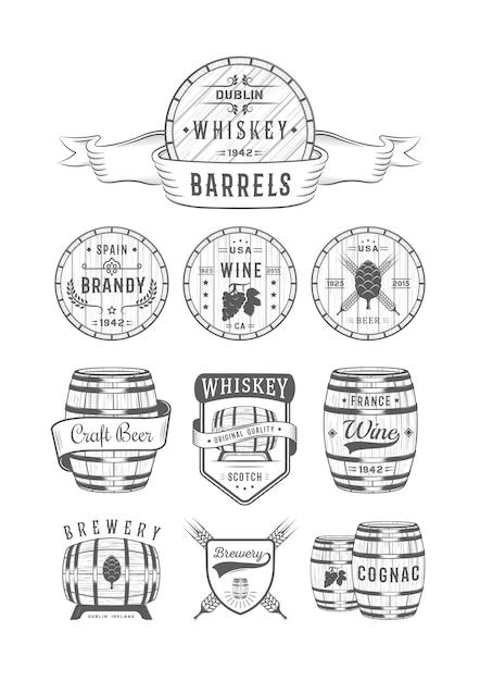 Etiketten für alkoholische getränke Premium Vektoren