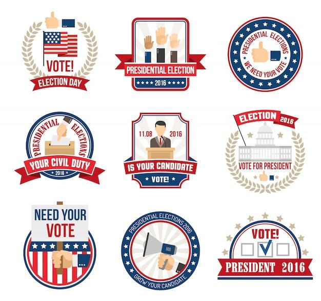 Etiketten für die präsidentschaftswahl Kostenlosen Vektoren