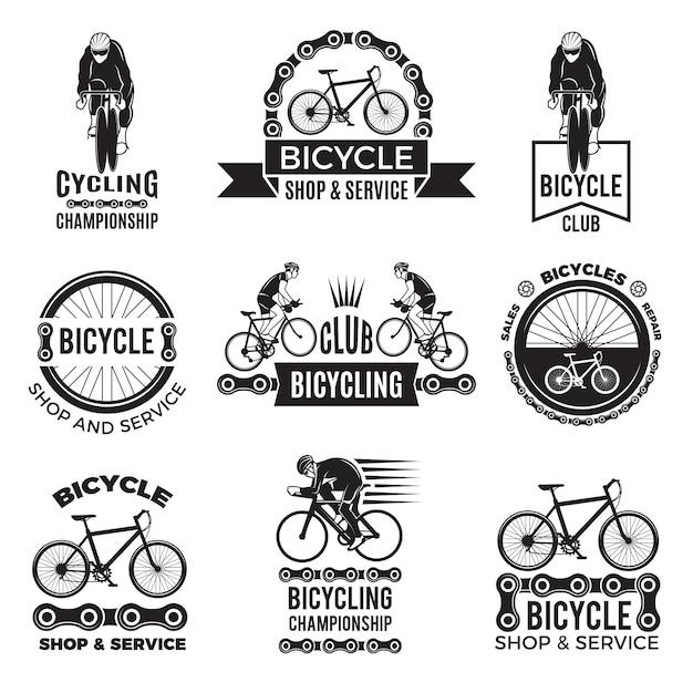 Etiketten für fahrradclub festgelegt. velo sportlogodesign Premium Vektoren