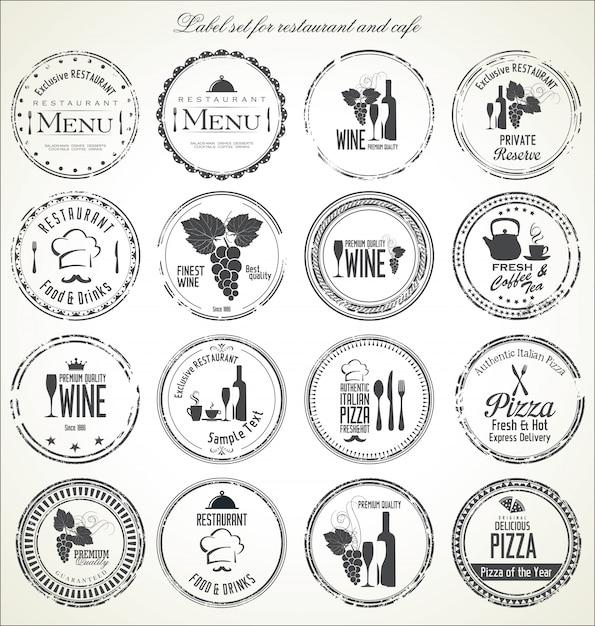Etiketten für wein mit trauben Premium Vektoren