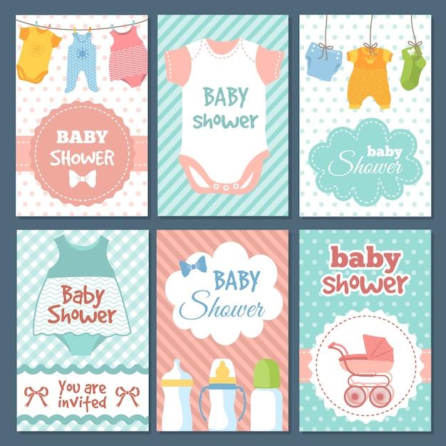 Etiketten oder karten für baby-dusche-paket. Premium Vektoren
