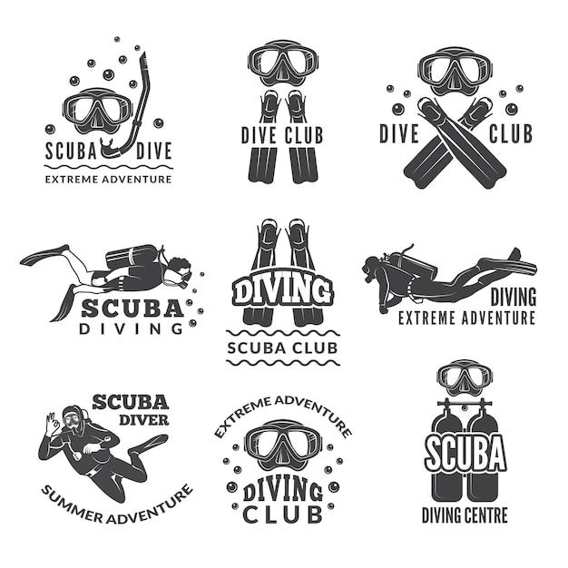Etiketten oder logos für tauchclubs. Premium Vektoren