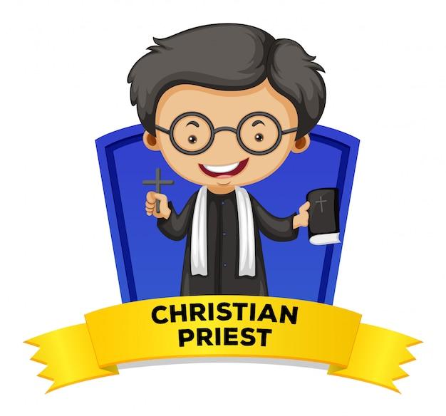 Etikettendesign mit christlichem priester Kostenlosen Vektoren