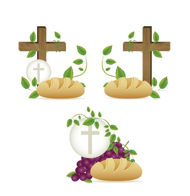 Eucharistisches sakrament Premium Vektoren