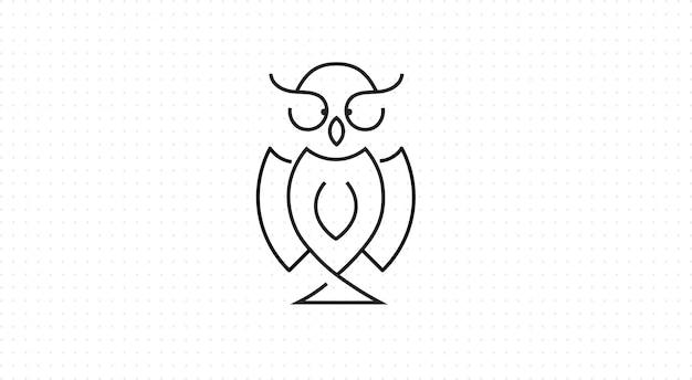 Eule-symbol im umriss-stil, schwarzer hintergrund Premium Vektoren