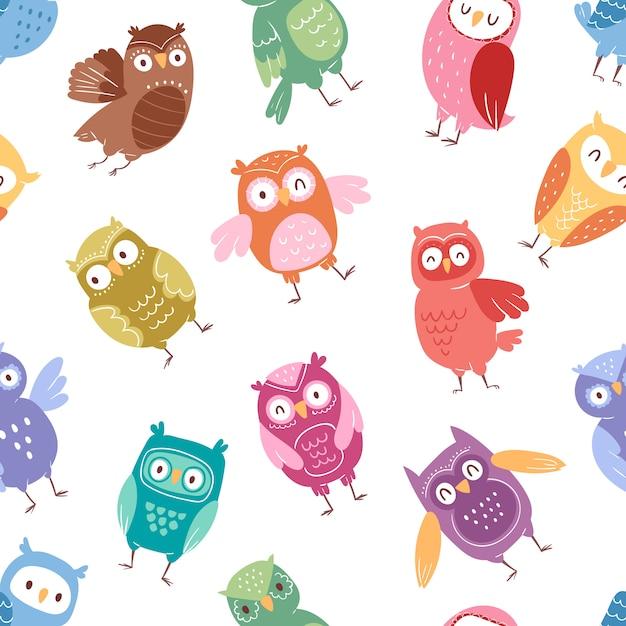 Eulen cartoon niedlichen vogel set cartoon eule charakter kinder tier baby kunst für kinder eule sammlung nahtlosen muster hintergrund Premium Vektoren