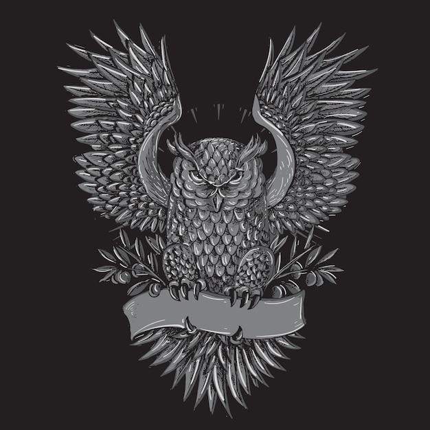 Eulen-tätowierungs-grau-illustration Premium Vektoren