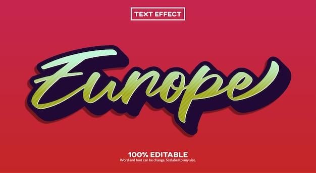 Europa einfacher texteffekt Premium Vektoren