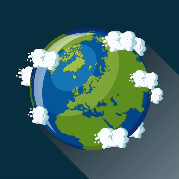 Europa karte auf dem planeten erde, blick aus dem weltraum Premium Vektoren