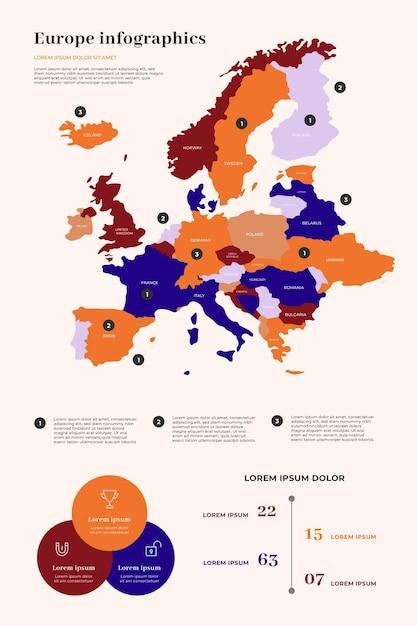 Europa karte infografik Kostenlosen Vektoren