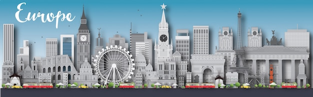 Europa skyline silhouette mit verschiedenen sehenswürdigkeiten Premium Vektoren