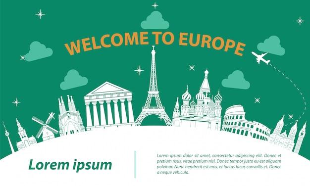 Europa top wahrzeichen silhouette Premium Vektoren