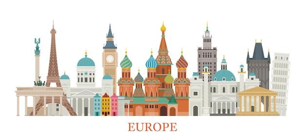 Europa wahrzeichen illustration Premium Vektoren