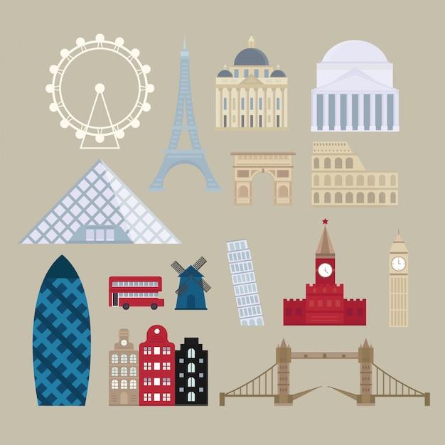 Europäische anziehungskraftillustration des historischen anblicks der flachen karikaturart. Premium Vektoren