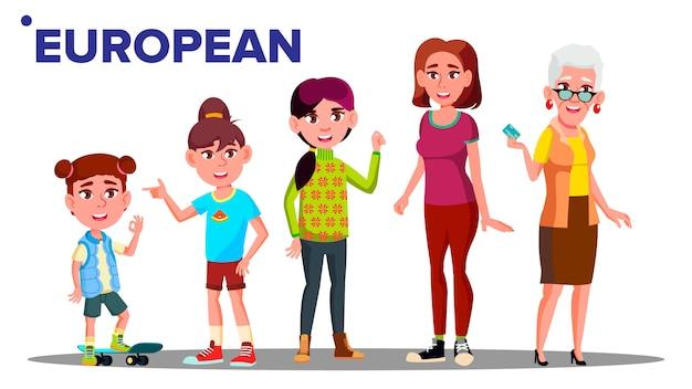 Europäische generation weiblich Premium Vektoren