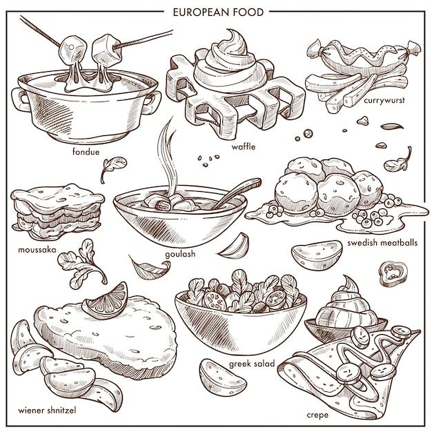 Europäische küche lebensmittelteller für menüskizzen-ikonenschablonen Premium Vektoren