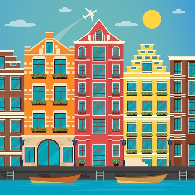 Europäische stadt. städtische szene. europäische architektur. vintage haus. fluss mit booten. vektor-illustration flacher stil Premium Vektoren